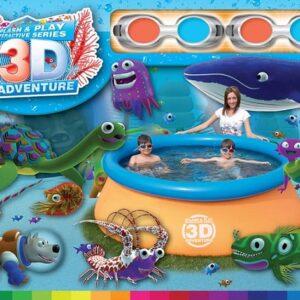 Pileta con borde inflable y dibujos 3D con 2 Lentes para disfrutar bajo el agua