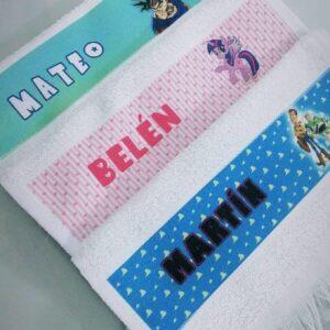 Tres toallitas sublimadas de mano personalizadas